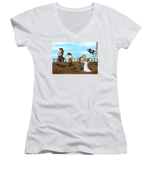 Women's V-Neck T-Shirt (Junior Cut) featuring the painting Tammy And The Pirates by Reynold Jay