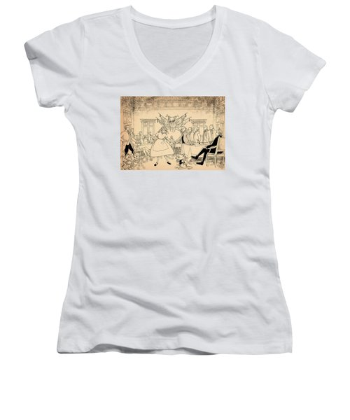 Women's V-Neck T-Shirt (Junior Cut) featuring the drawing Tammy In Indpendence Hall by Reynold Jay