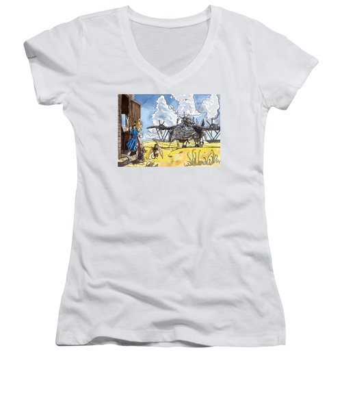 Women's V-Neck T-Shirt (Junior Cut) featuring the painting Tammy Sees A Thingamajig by Reynold Jay