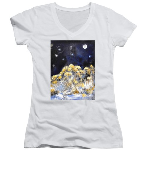 Taos Night Orbs Women's V-Neck T-Shirt (Junior Cut) by Glory Wood