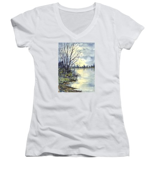 Moonlight Reflections In Loch Tarn In Scotland Women's V-Neck T-Shirt (Junior Cut) by Carol Wisniewski