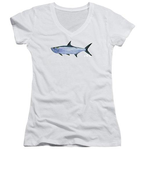 Tarpon Women's V-Neck T-Shirt (Junior Cut) by Carey Chen