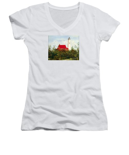 Women's V-Neck T-Shirt (Junior Cut) featuring the painting Tawas by Lee Piper