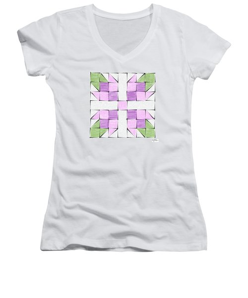 Tea Rose Quilt Block Women's V-Neck T-Shirt (Junior Cut) by Sandy MacGowan