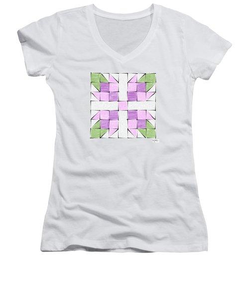 Tea Rose Quilt Block Women's V-Neck T-Shirt