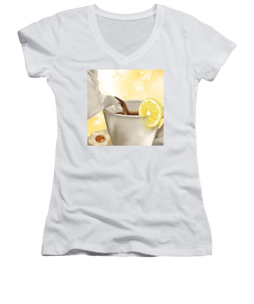 Tea Time Women's V-Neck T-Shirt (Junior Cut) by Veronica Minozzi