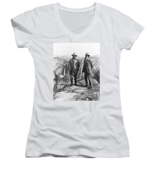 Teddy Roosevelt And John Muir Women's V-Neck (Athletic Fit)