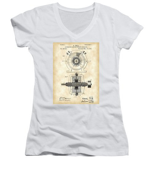 Tesla Alternating Electric Current Generator Patent 1891 - Vintage Women's V-Neck T-Shirt (Junior Cut) by Stephen Younts