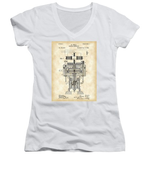 Tesla Electric Generator Patent 1894 - Vintage Women's V-Neck T-Shirt (Junior Cut) by Stephen Younts