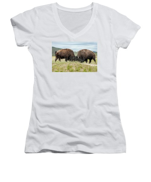 Women's V-Neck T-Shirt (Junior Cut) featuring the photograph Test Of Strength by Jack Bell
