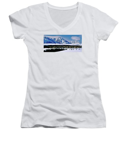 Teton Valley Winter Grand Teton National Park Women's V-Neck T-Shirt (Junior Cut) by Ed  Riche