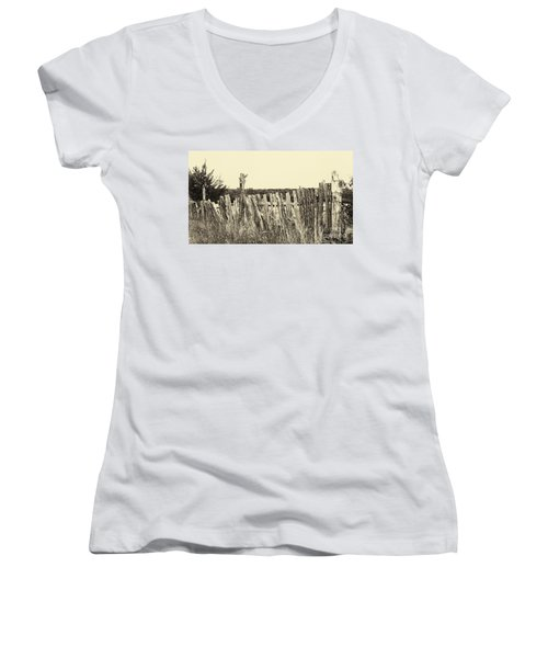 Texas Fence In Sepia Women's V-Neck (Athletic Fit)