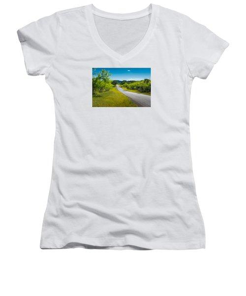 Texas Hill Country Road Women's V-Neck T-Shirt (Junior Cut) by Darryl Dalton