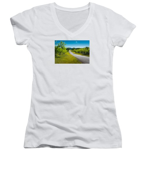 Texas Hill Country Road Women's V-Neck T-Shirt