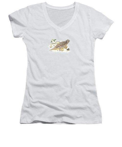 Texas Horned Lizard Women's V-Neck T-Shirt (Junior Cut) by Cindy Hitchcock