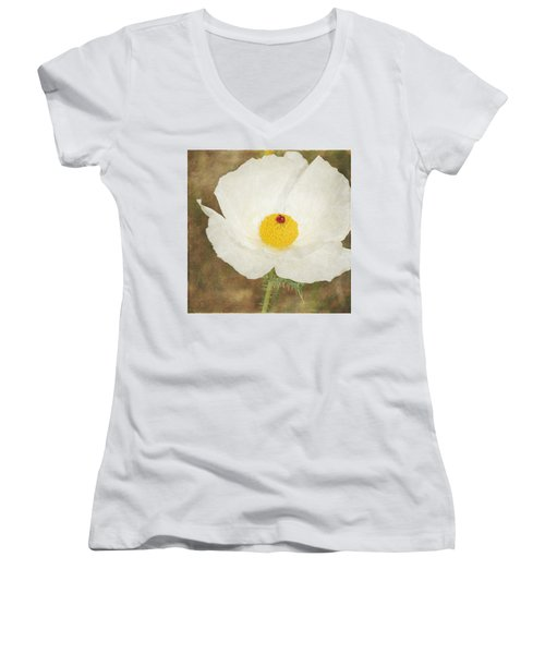 Texas Prickly Poppy Wildflower Women's V-Neck