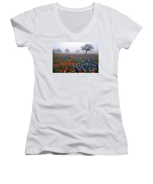 Texas Spring - Fs000559 Women's V-Neck T-Shirt (Junior Cut) by Daniel Dempster