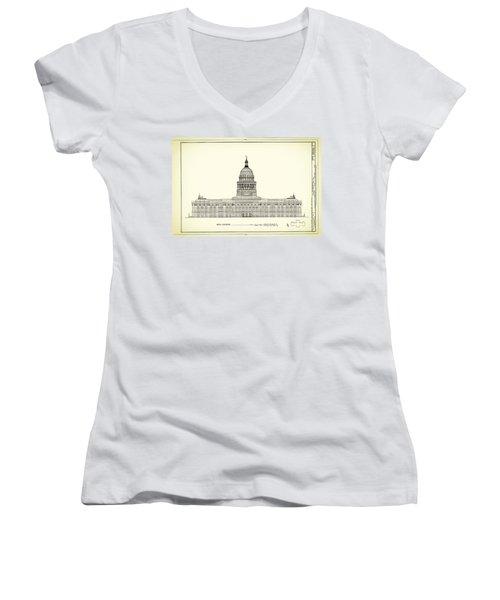 Texas State Capitol Architectural Design Women's V-Neck T-Shirt (Junior Cut)