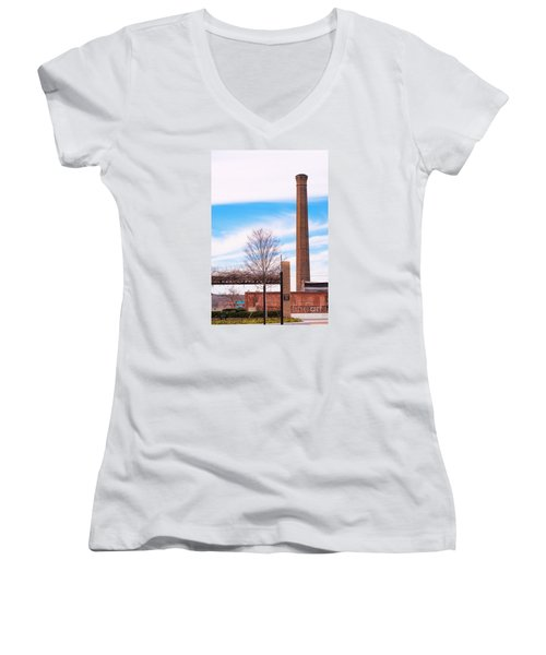 Women's V-Neck T-Shirt (Junior Cut) featuring the photograph Historical Textile Mill Smoke Stack In Columbus Ga by Vizual Studio