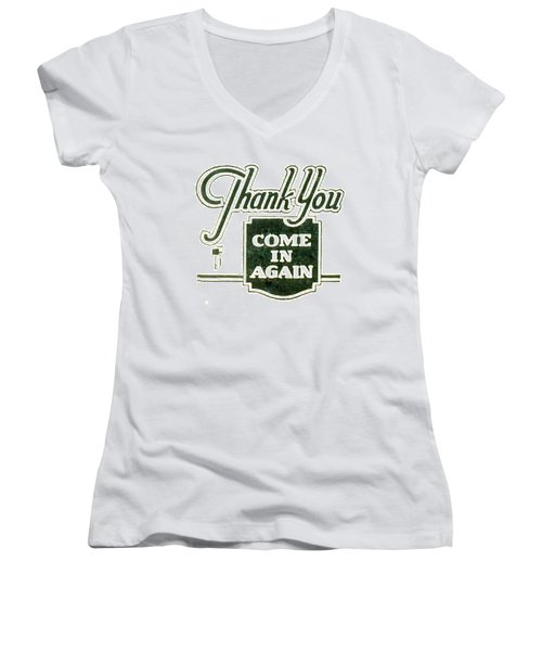 Women's V-Neck T-Shirt (Junior Cut) featuring the digital art Thank You-come In Again by Cathy Anderson