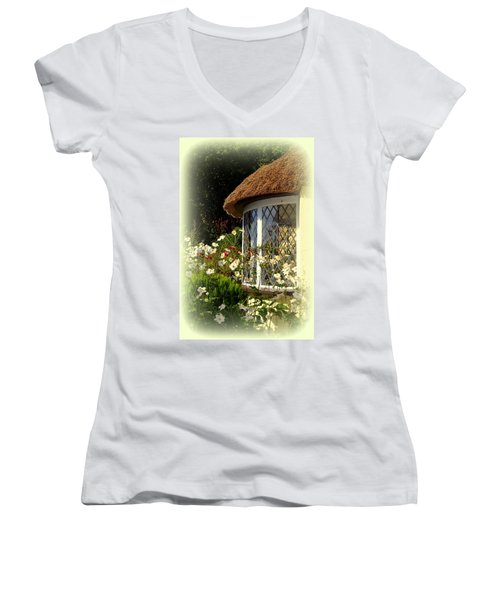 Thatched Cottage Window Women's V-Neck (Athletic Fit)