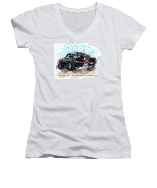 The 1967 Shelby Gt-500 Eleanor Women's V-Neck (Athletic Fit)