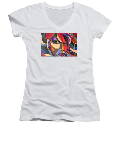 Abstract Woman Art, Abstract Face Art Acrylic Painting Women's V-Neck