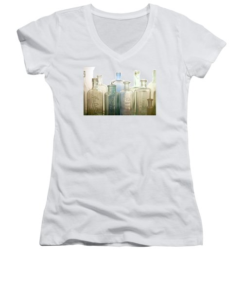 Women's V-Neck T-Shirt (Junior Cut) featuring the photograph The Ages Reflected In Glass by Holly Kempe