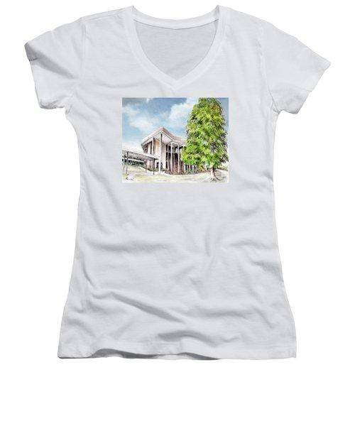 The Angles Of A Modern Architecture  Women's V-Neck T-Shirt (Junior Cut) by Danuta Bennett
