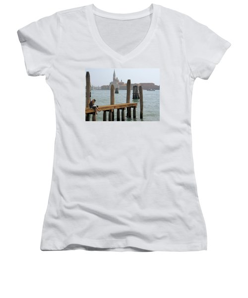 The Artist Women's V-Neck T-Shirt (Junior Cut) by Ron Harpham