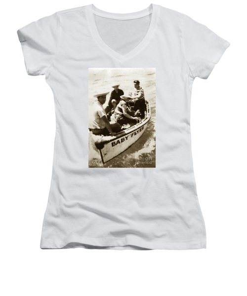The Baby Flyer With Ed Ricketts And John Steinbeck  In Sea Of Cortez  1940 Women's V-Neck