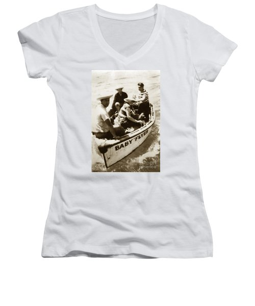 The Baby Flyer With Ed Ricketts And John Steinbeck  In Sea Of Cortez  1940 Women's V-Neck (Athletic Fit)