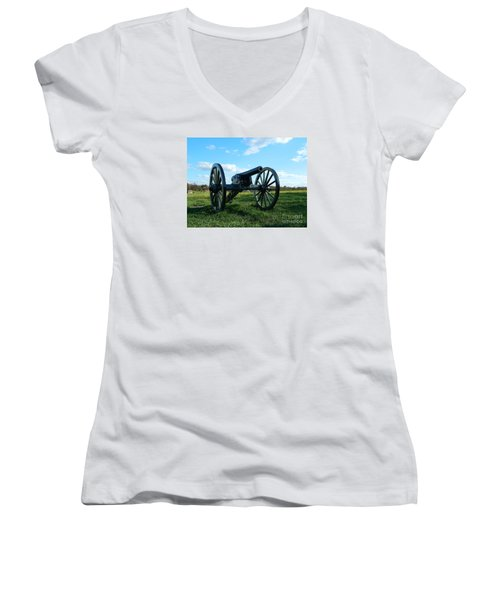 Women's V-Neck T-Shirt (Junior Cut) featuring the photograph The Battle Is Over - Gettysburg by Emmy Marie Vickers