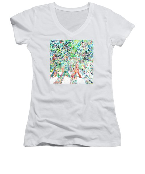 The Beatles - Abbey Road - Watercolor Painting Women's V-Neck T-Shirt (Junior Cut)