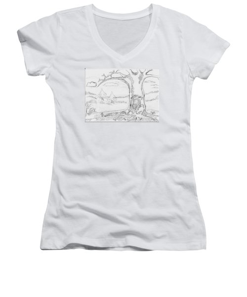 Women's V-Neck T-Shirt (Junior Cut) featuring the painting The Big Oak  by Felicia Tica