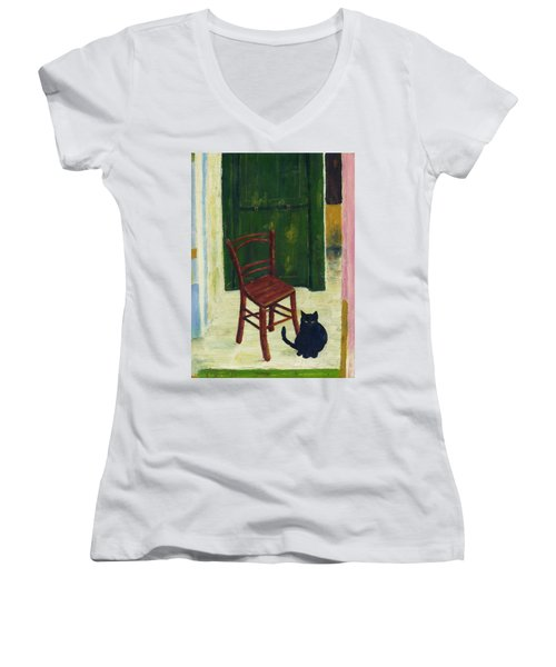 Women's V-Neck T-Shirt (Junior Cut) featuring the painting The  Black Cat by Hartmut Jager