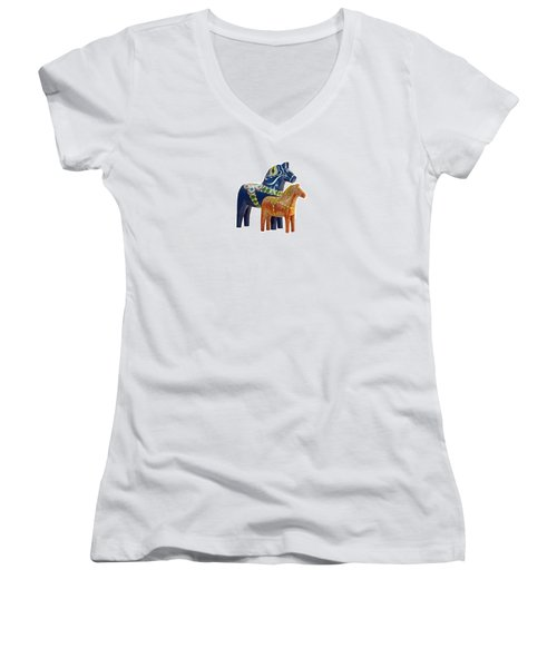 The Blue And Red Dala Horse Women's V-Neck T-Shirt (Junior Cut) by Torbjorn Swenelius