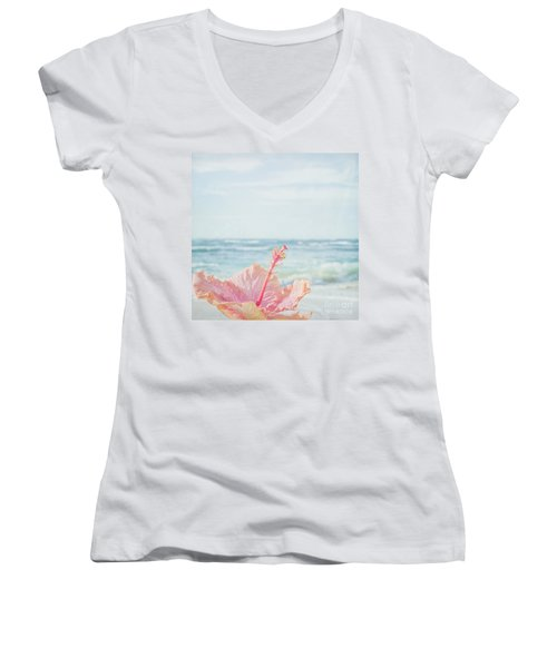 Women's V-Neck T-Shirt featuring the photograph The Blue Dawn by Sharon Mau