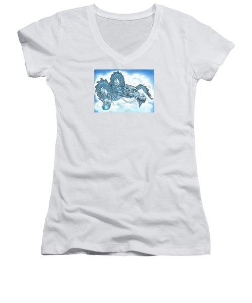Women's V-Neck T-Shirt (Junior Cut) featuring the drawing The Blue Dragon by Troy Levesque
