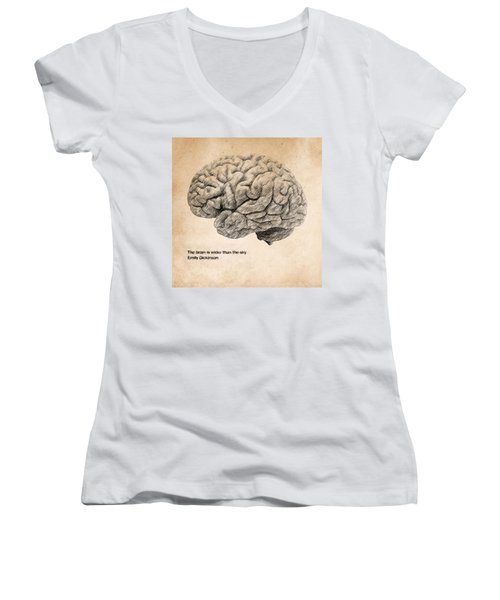 The Brain Is Wider Than The Sky Women's V-Neck T-Shirt (Junior Cut) by Taylan Apukovska
