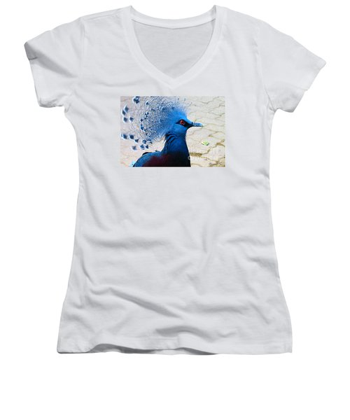 Women's V-Neck T-Shirt (Junior Cut) featuring the photograph The Bright Blue Bird by Nina Silver