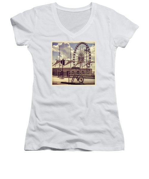 Women's V-Neck T-Shirt (Junior Cut) featuring the photograph The Brighton Wheel by Chris Lord