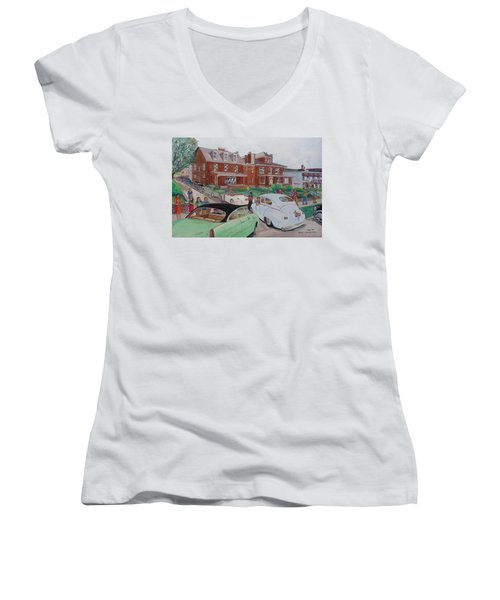 The Car Movers Of Phi Sigma Kappa Osu 43 E. 15th Ave Women's V-Neck T-Shirt (Junior Cut) by Frank Hunter