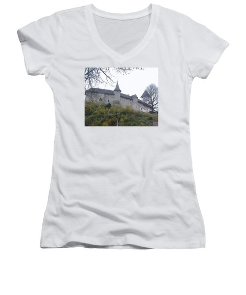 Women's V-Neck T-Shirt (Junior Cut) featuring the photograph The Castle In Autumn by Felicia Tica