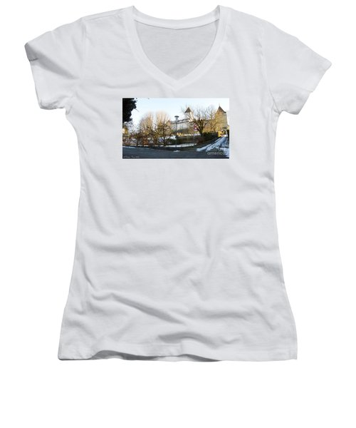 Women's V-Neck T-Shirt (Junior Cut) featuring the photograph The Castle In Winter Light by Felicia Tica