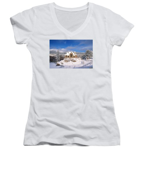 The Chapel On The Rock 3 Women's V-Neck T-Shirt