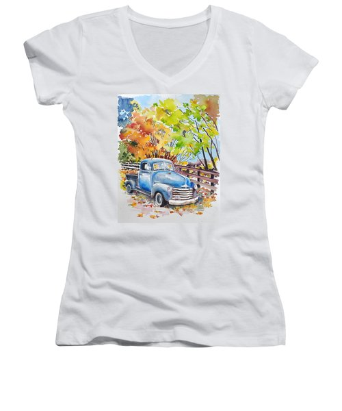 The Old Chevy In Autumn Women's V-Neck (Athletic Fit)