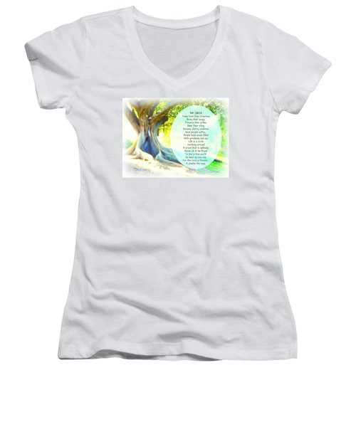 Women's V-Neck T-Shirt (Junior Cut) featuring the photograph The Circle by Leanne Seymour
