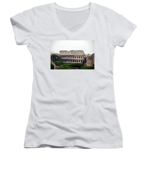 The Coliseum  Women's V-Neck T-Shirt (Junior Cut) by Debi Demetrion