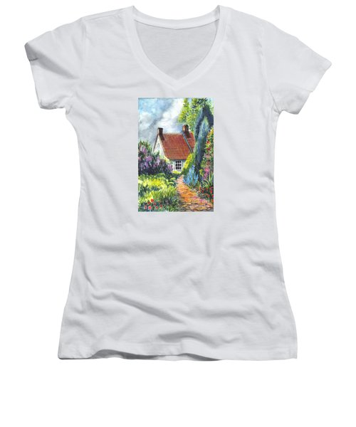 The Cottage Garden Path Women's V-Neck T-Shirt (Junior Cut) by Carol Wisniewski